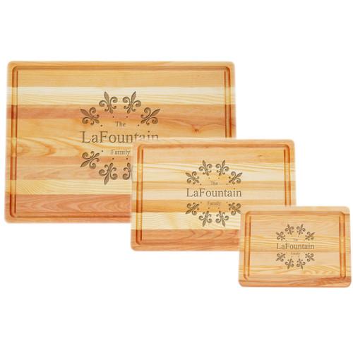 Small, Medium & Large Master Cutting Board Set - Fleur De Lys Circle