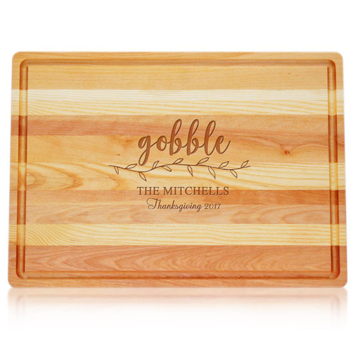 "Large Master Cutting Board 20"" X 14.5"" - Gobble With Name, Thanksgiving & Year"