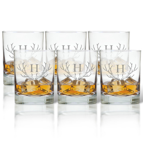 PERSONALIZED ANTLER OLD FASHIONED - SET OF 6 GLASS