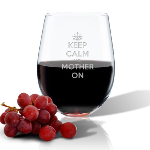 SINGLE Wine Tumbler - (GLASS) - KEEP CALM and MOTHER ON
