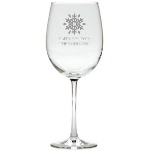 PERSONALIZED SNOWFLAKE WINE STEMWARE - SET OF 4 (GLASS)