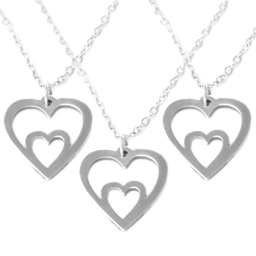 Mother and Child Dual Heart Necklaces in Argentium Sterling Silver (Set of 3)