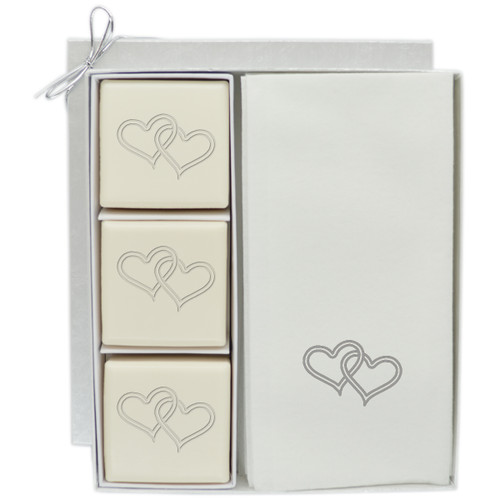 Eco-Luxury Courtesy Gift Set - Double Heart with Silver