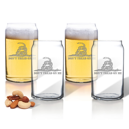 Don't Tread on Me Set of 4 Beer Can glasses 16oz