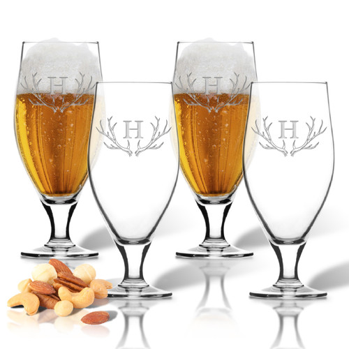 SET of 4 16oz CERVOISE GLASSES : PERSONALIZED ANTLER MOTIF