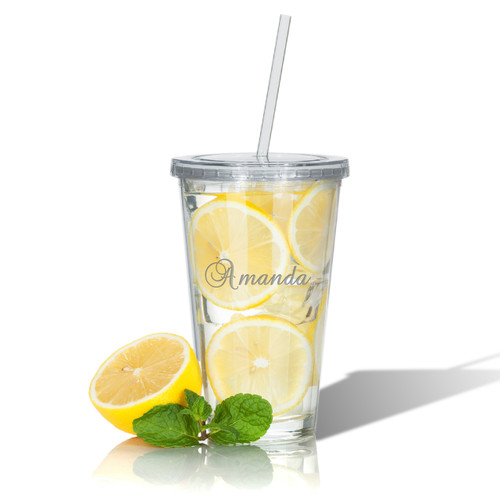 PERSONALIZED DOUBLE WALLED TUMBLER WITH STRAW (Unbreakable)-PERSONALIZED