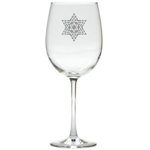 FANCY STAR OF DAVID WINE STEMWARE - SET OF 4 (GLASS)