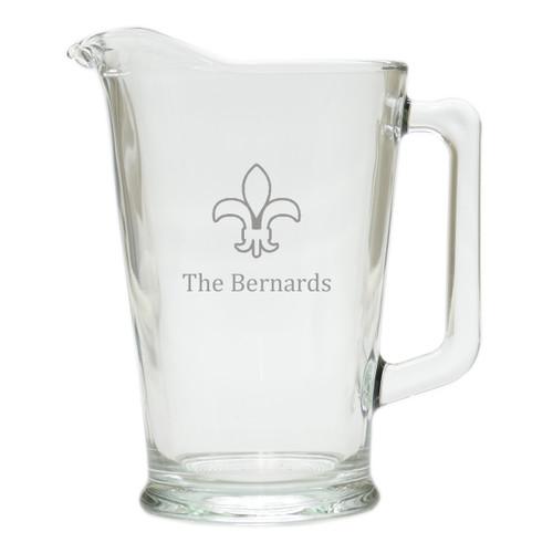 PERSONALIZED FLEUR DE LIS PITCHER  (GLASS)