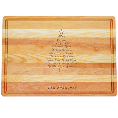 "Large Master Cutting Board 20"" X 14.5"" - Personalized Inspirational Christmas Tree"