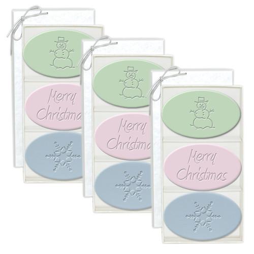 Signature Spa Trio - Green Tea, Satsuma & Blue Lupin: Snowman, Merry Christmas, Snowflakes (Set of 3)