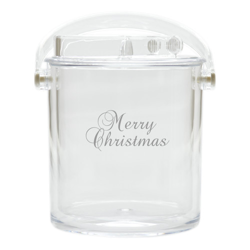Insulated Ice Bucket with Tongs - Merry Christmas
