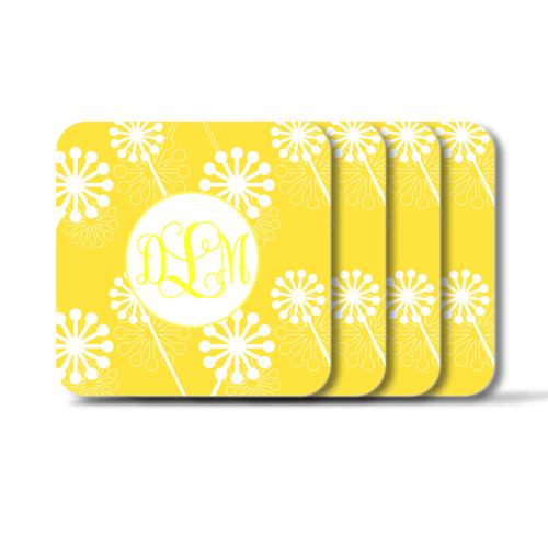 Personalized Square Coasters, Set of 4 - Verbena Vine Monogram