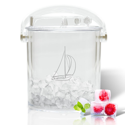 Insulated Ice Bucket with Tongs - Sailboat