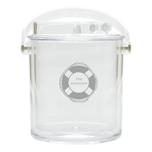 Personalized Insulated Ice Bucket with Tongs - Life Preserver