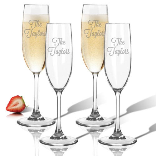 Tritan Champagne Flutes 6.5oz (Set of 4) -PERSONALIZED