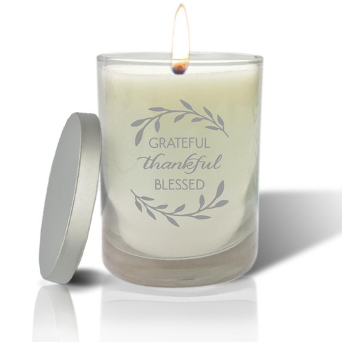 Soy Glass Candle - Grateful Thankful Blessed