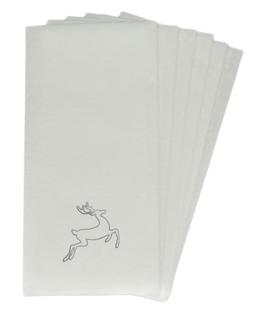 25 Linen-Like Disposable Guest Towels - Silver Deer