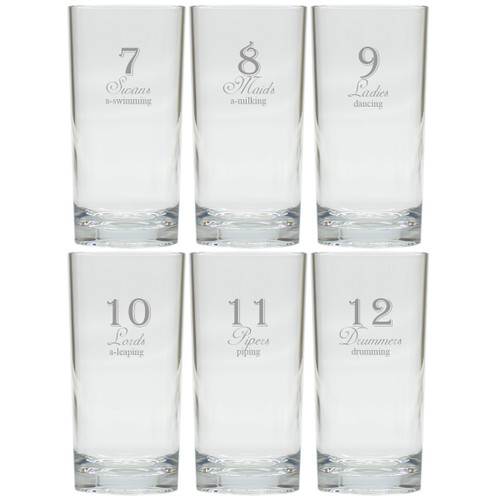DAYS OF CHRISTMAS 7-12 COOLER: SET OF 6 (Glass)