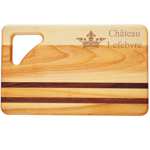 "Small Integrity Cutting Board 10"" X 6"" - Personalized Fleur De Lis"