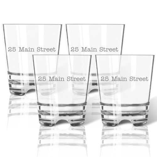 PERSONALIZED ADDRESS OLD FASHIONED - SET OF 4 (Tritan Unbreakable)