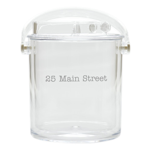 Personalized Insulated Ice Bucket with Tongs - Address