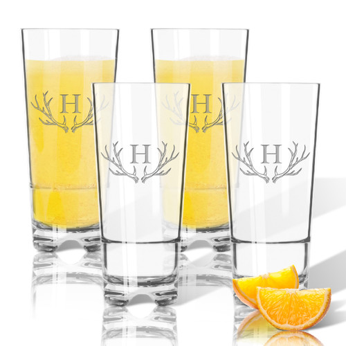 Tritan High Ball 16oz (Set of 4) Antler Initial Motif