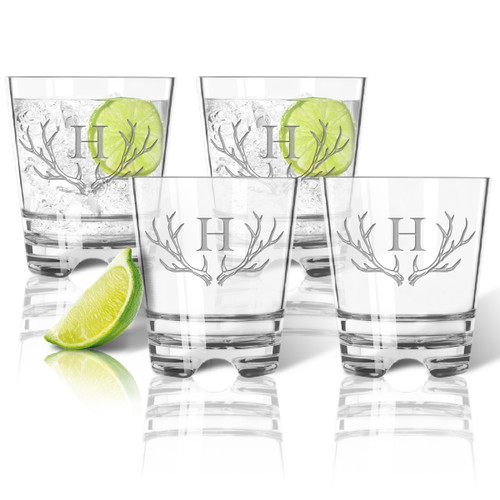 Tritan DOF (Double Old Fashion Rocks )12oz  (Set of 4) Antler Initial Motif
