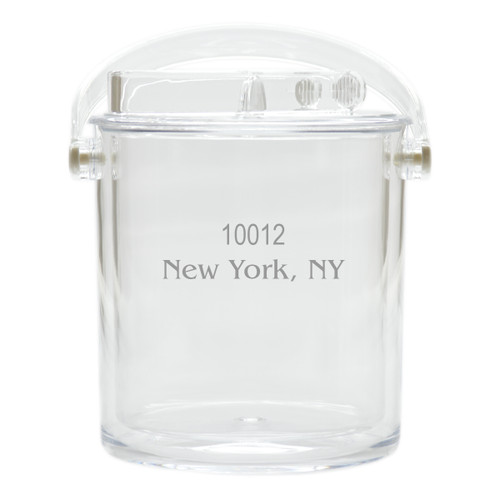 Personalized Insulated Ice Bucket with Tongs - Zip Code