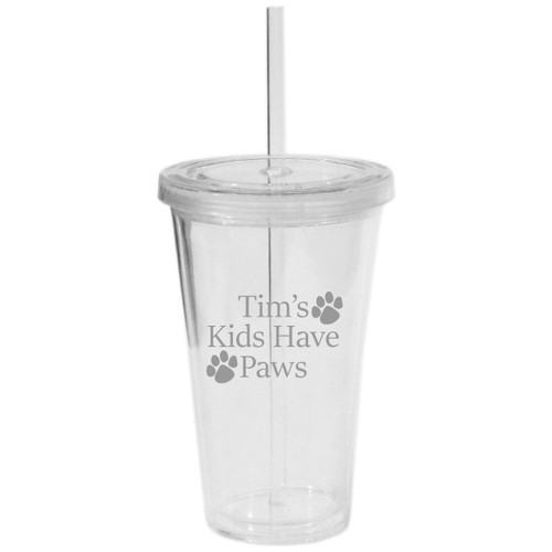 PERSONALIZED KIDS HAVE PAWS DOUBLE WALLED TUMBLER WITH STRAW