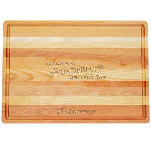 "Large Master Cutting Board 20"" X 14.5"" - Personalized Wonderful Time of Year"