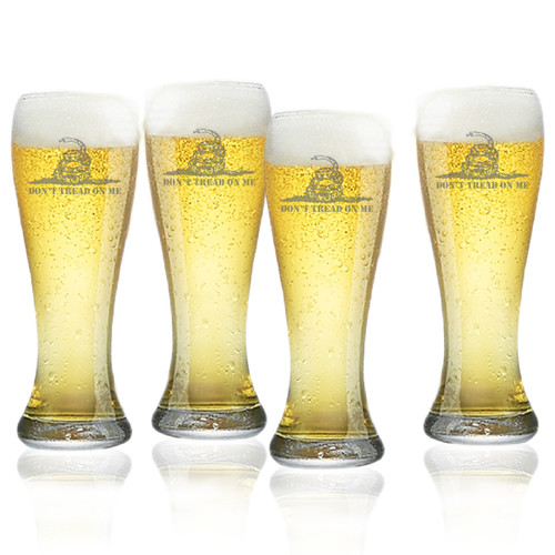 Don't Tread on Me Set of 4  Pilsner Glasses 16oz