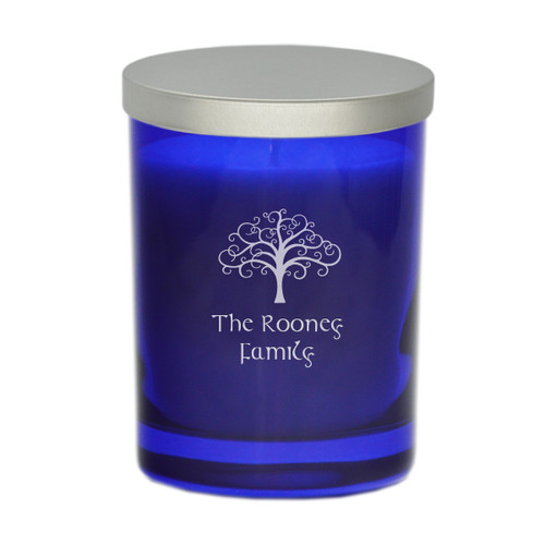 Sapphire Soy Glass Candle - Tree of Life with Celtic Name