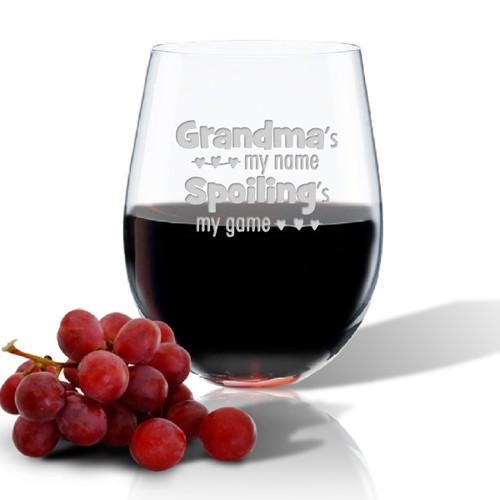 SINGLE Wine Tumbler - (GLASS) - GRANDMA'S MY NAME