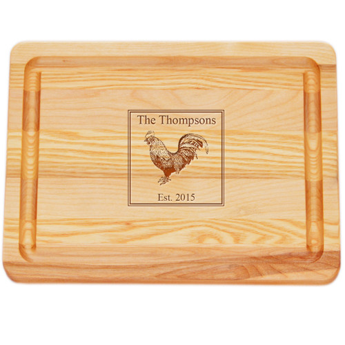 "Small Master Cutting Board 10"" X 7.5"" - Personalized Rooster"