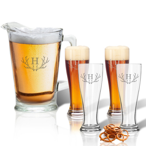60oz Pitcher & (Set of 4)   16oz Pilsner Glasses : PERSONALIZED ANTLER MOTIF