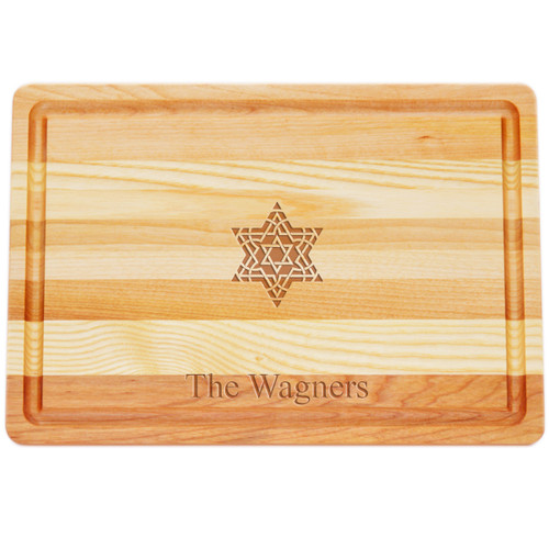"Medium Master Cutting Boards 14.5"" X 10"" - Personalized Fancy Star Of David"