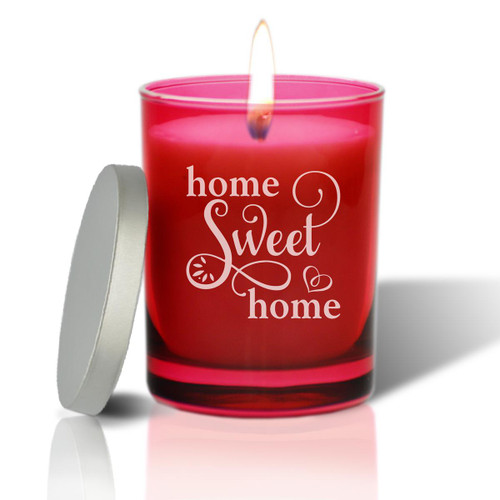 Ruby Soy Glass Glass Candle - Home Sweet Home