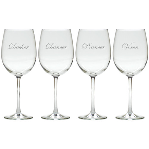 SANTA'S REINDEER 1-4 STEMWARE - SET OF 4 (GLASS)