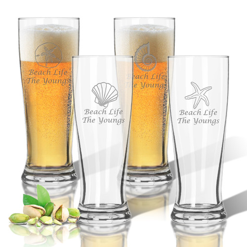 Tritan Pilsner 14 oz (Set of 4): Shells Collection  with Name