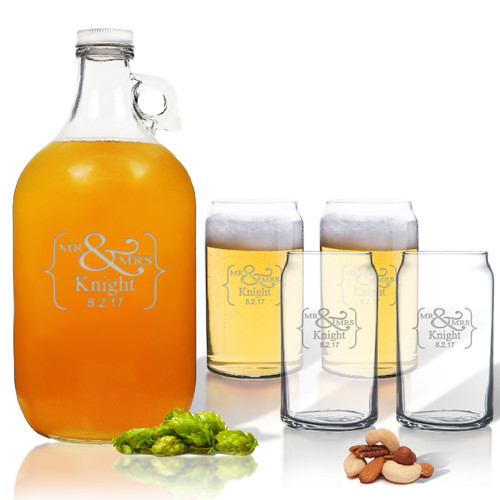 5 Piece Set: Growler  64 oz.  & Beer Can Glasses 16 oz (Set of 4) Mr & Mrs Bracket