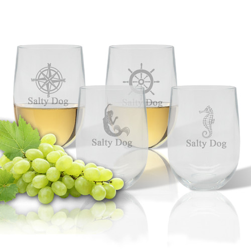 Stemless Wine Tumbler  (Set of 4) : Nautical  with Name