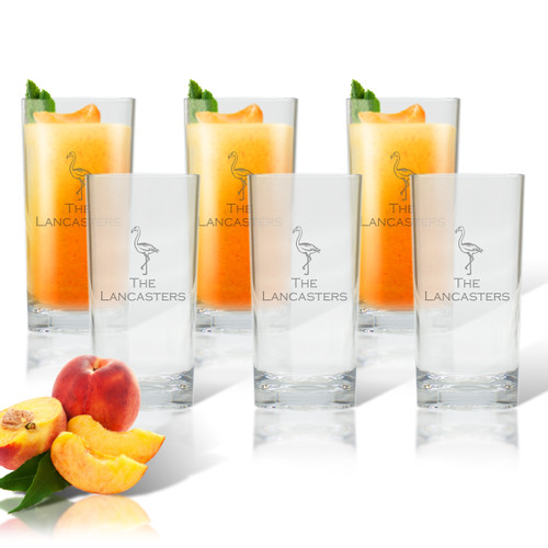 Flamingo Tall Cooler Glass - Set of Six