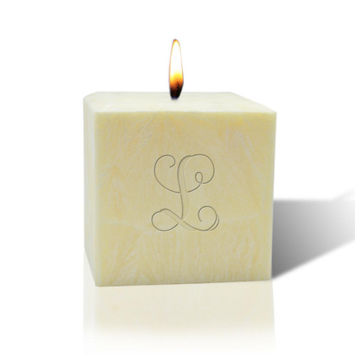 "3"" Unscented Palm Wax Candle - Initial"