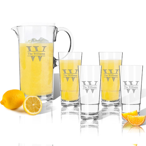 Entertaining Set: Tritan Pitcher and High Ball Glasses 16 oz (Set of 4): Split Letter