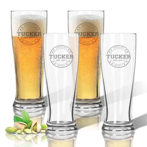 Tritan Pilsner 14 oz (Set of 4) : Collegiate Sports Logo