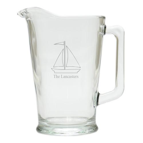 PERSONALIZED SAILBOAT PITCHER  (GLASS)