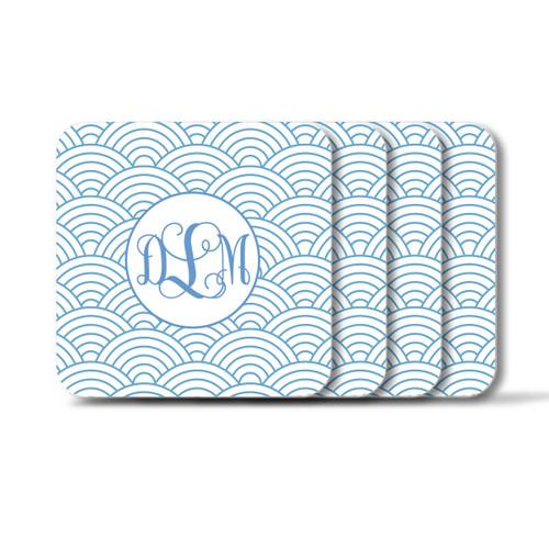 Personalized Square Coasters, Set of 4 - Wild Blue Lupin Vine Monogram
