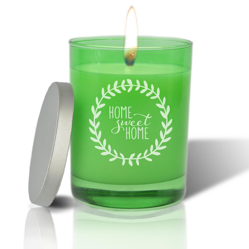 Emerald Soy Glass Candle - Home Sweet Home with Wreath
