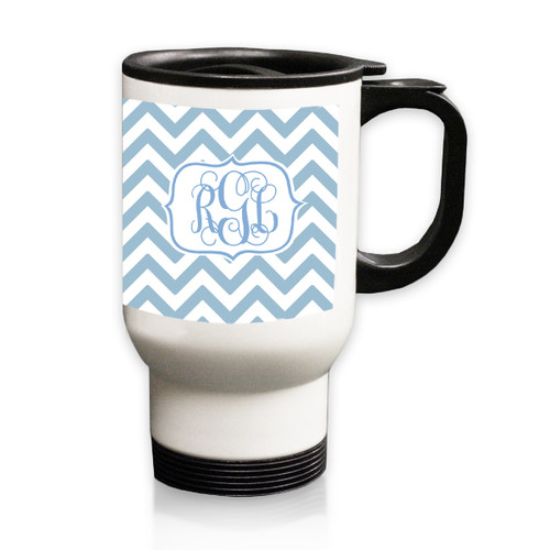 Personalized White Stainless Steel Travel Mug - 14 oz.Chevron Vine Monogram