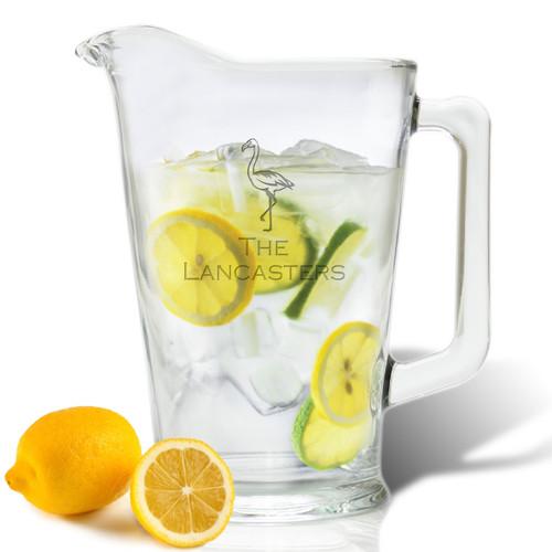 PERSONALIZED FLAMINGO  PITCHER  (GLASS)